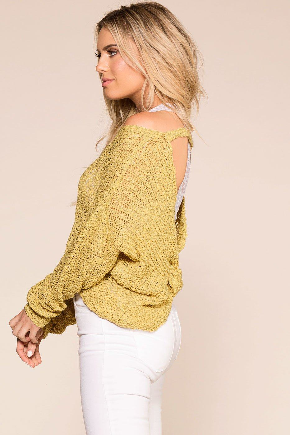 Yellow Twist Back Knit Sweater