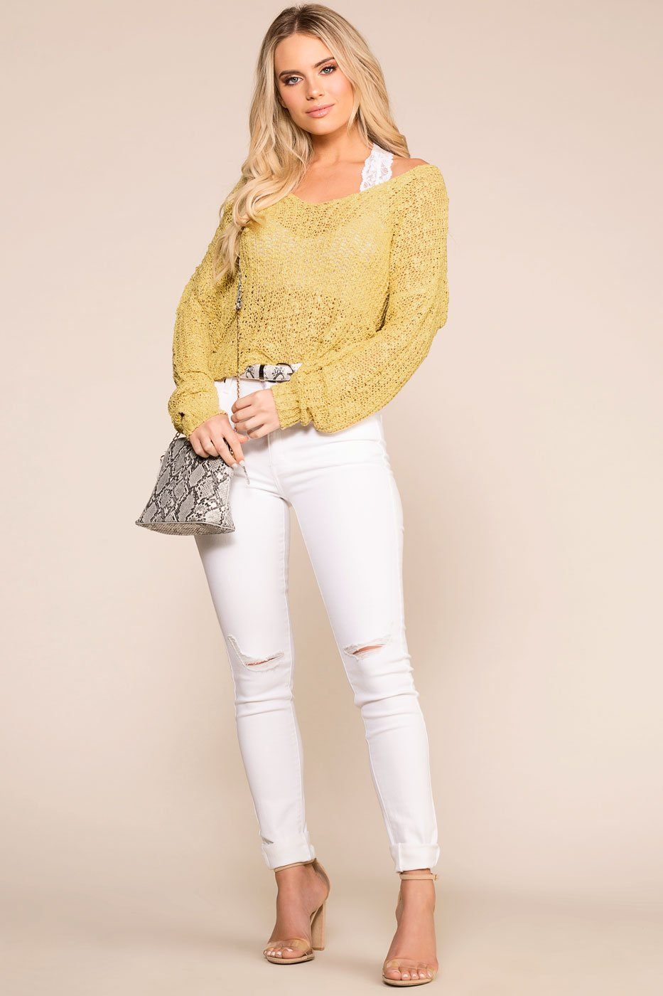 Priceless | Yellow | Twist Back Knit Sweater | Womens