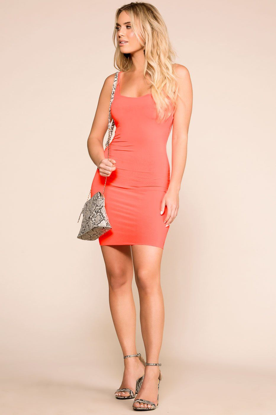 Priceless | Neon Coral | Bodycon Dress | Womens