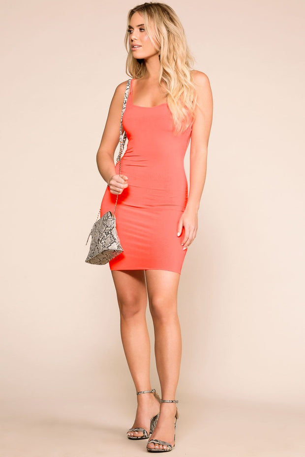 Neon Coral Bodycon Dress