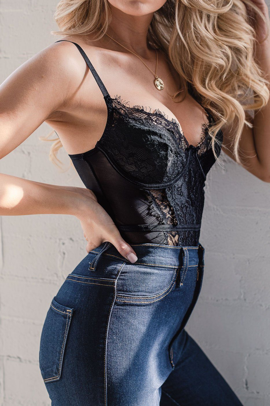Flawless Black Lace Mesh Bodysuit