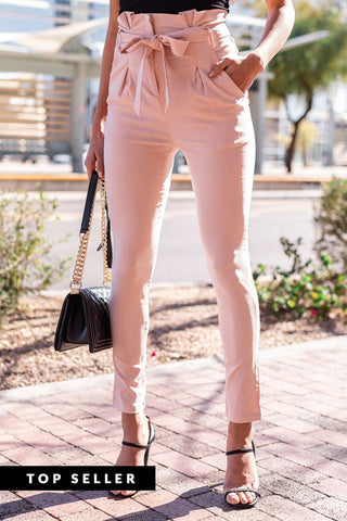 Clean Black Striped High Waisted Tie Pants