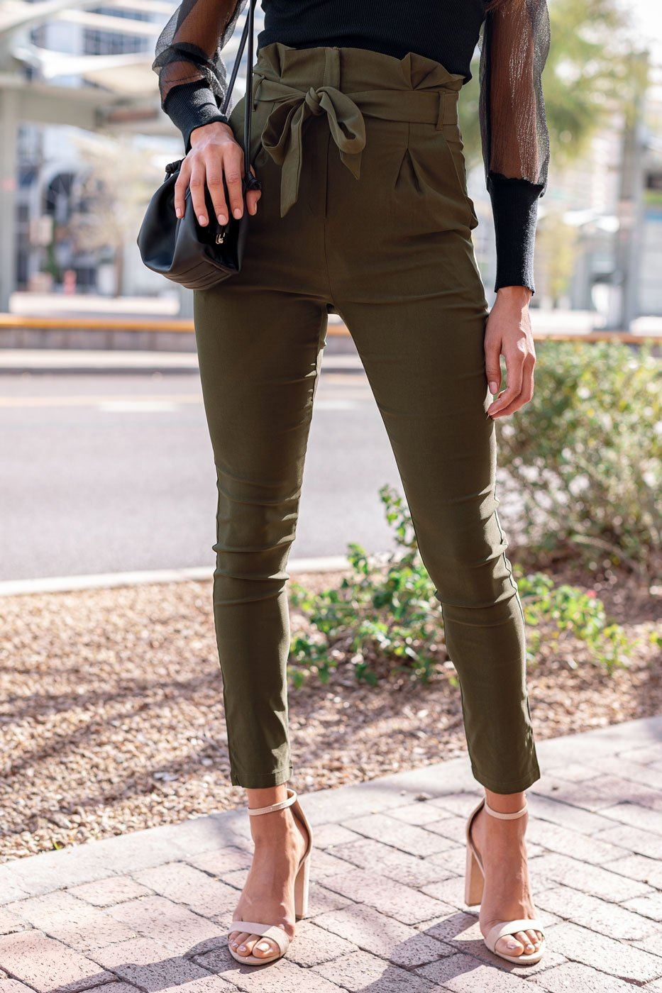 Olive Paperbag Tie-Front Pants