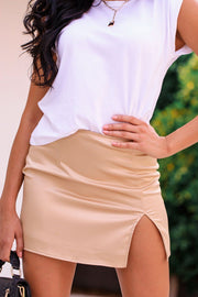 Gold Satin Slit Mini Skirt