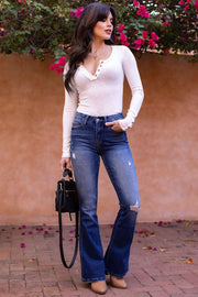 For The Thrill Medium Wash Denim Flare Jeans