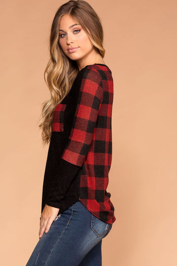 Priceless | Red and Black Plaid Pocket Top | Long Sleeve | Women's