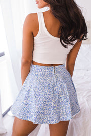 France Blue Leopard Print Skater Skirt