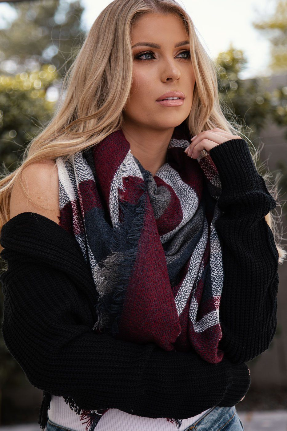 Francine Dark Burgundy Plaid Blanket Scarf