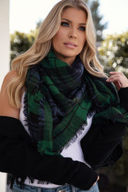 Francine Forest Green Plaid Blanket Scarf
