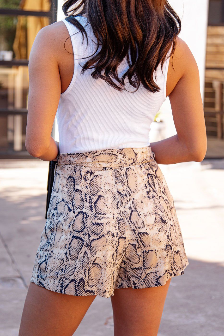 Snakeskin Print Paperbag Tie-Front Shorts