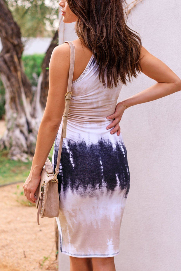 Latte Tie-Dye Midi Dress