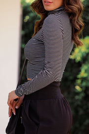 French Connection Black and White Stripe Crop Turtleneck