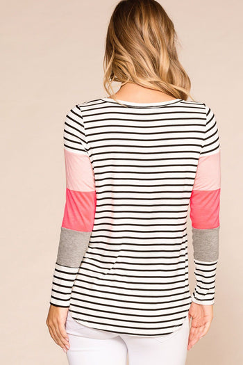Neon Pink Colorblock Striped Top