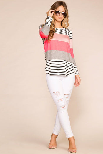 Priceless | Neon | Colorblock | Striped | Long Sleeve | Womens