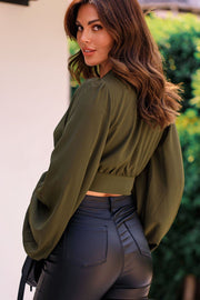 Eden Olive Bell Sleeve Crop Top