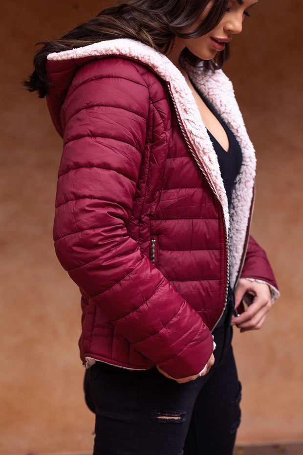 Wine Puffy Jacket