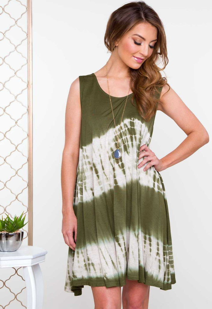 Got A Crush Tie Dye Dress - Green