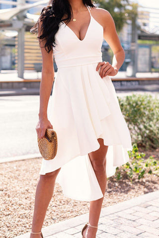 Epiphany White Asymmetrical Organza Sleeve Dress