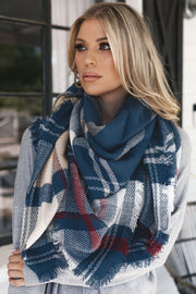 Georgette Blue Plaid Blanket Scarf