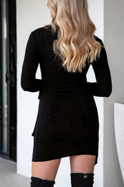 Black Ribbed Wrap Dress