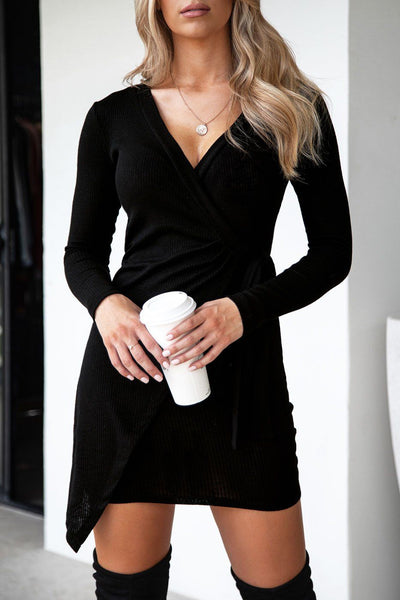 Georgia Black Ribbed Wrap Dress