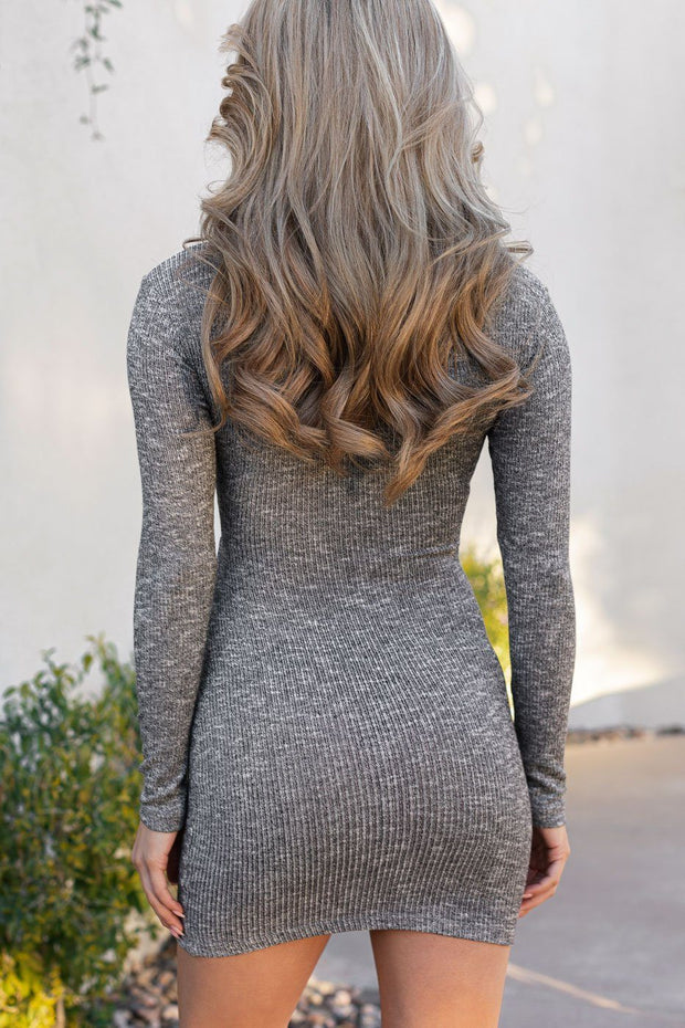Heather Grey Ribbed Wrap Dress