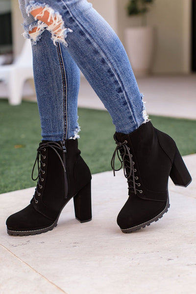 Get A Grip Black Lace Up High Heel Boots