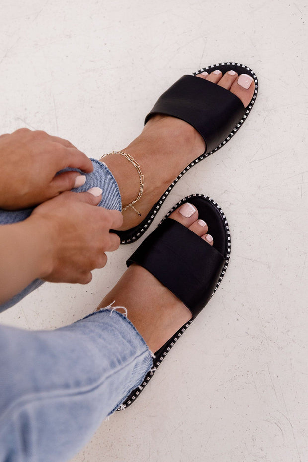 Black Slide-On Sandals