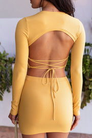 Yellow Ribbed Open Back Crop Top