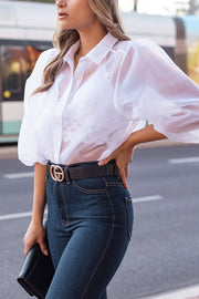 White Sheer Blouse Top