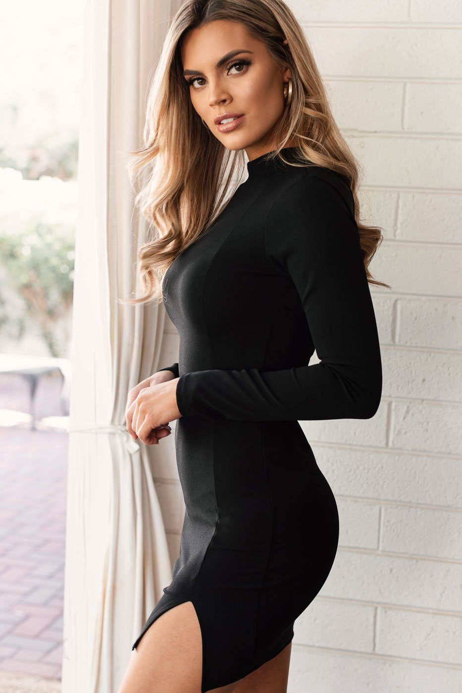 Black Mini Open-Back Bodycon Dress