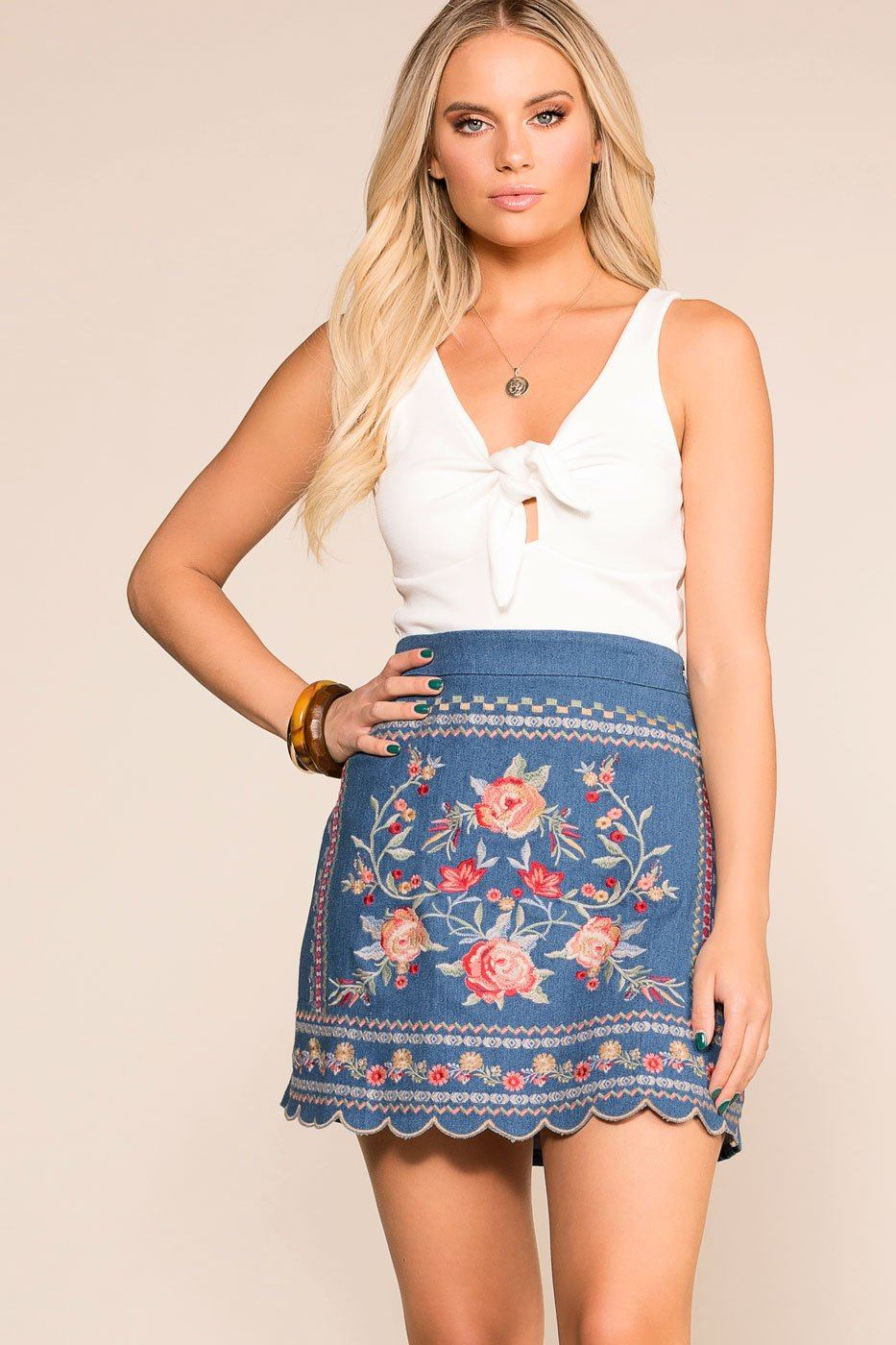 7eb817c68 Ginger Embroidered Denim Mini Skirt