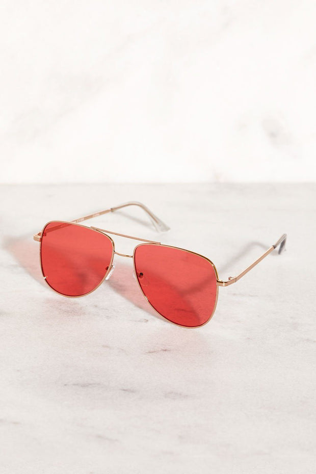Red Aviator Sunglasses