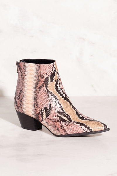 Go Wild Snakeskin Print Pointed-Toe Booties