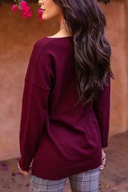 Wine V-Neck Top
