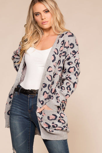 Grey Leopard Print Knit Cardigan