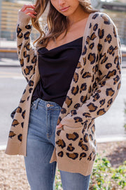 Tan Leopard Knit Cardigan