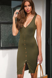 Olive Buttoned Midi Dress