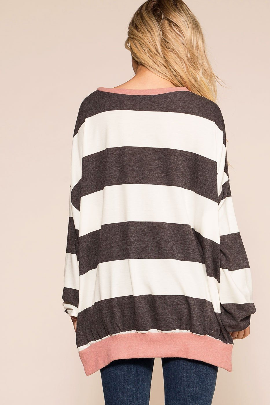 Priceless | Grey | Mauve | Striped Oversize Top | Womens