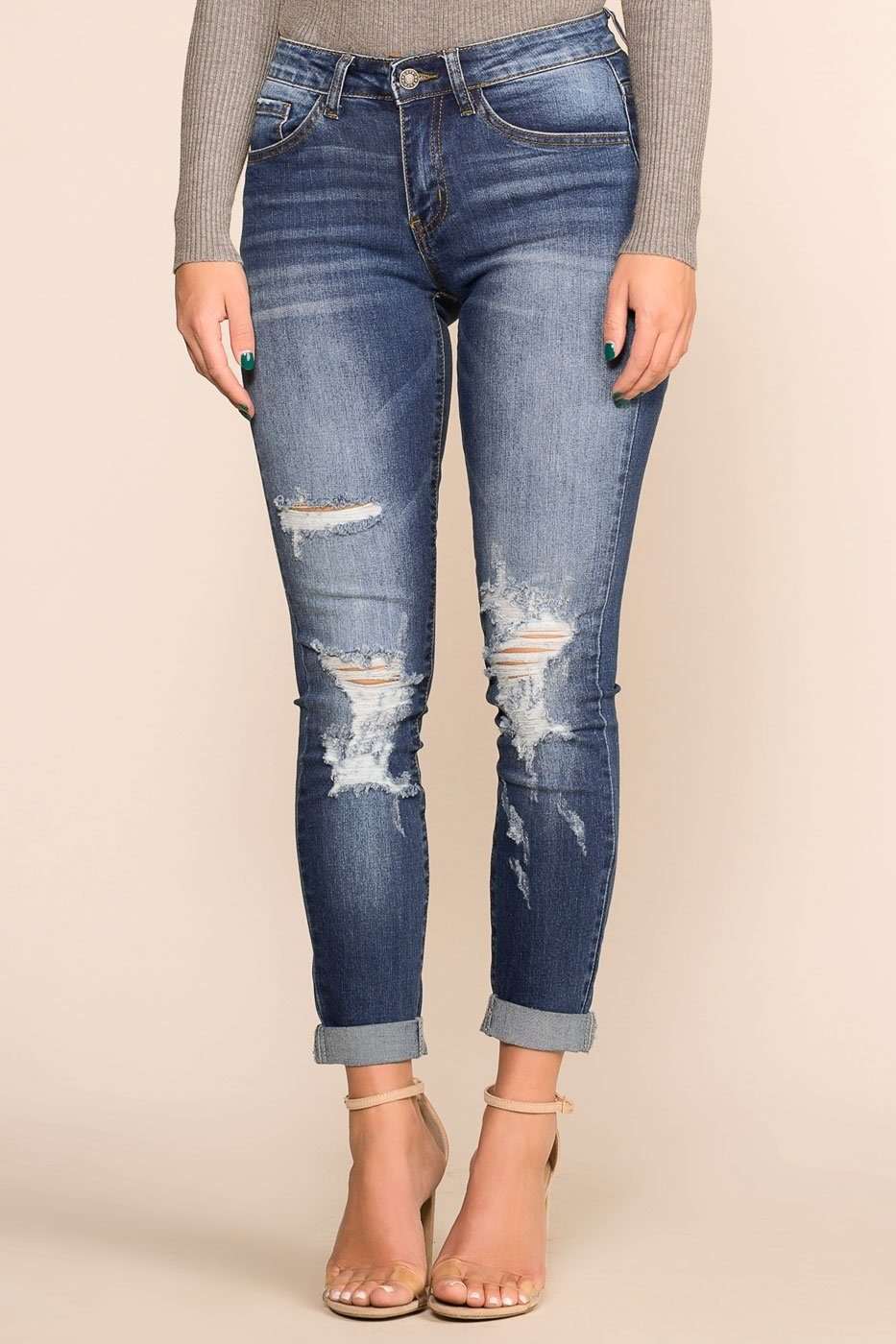 c3f6e306653 Good Timing Distressed Skinny Jeans