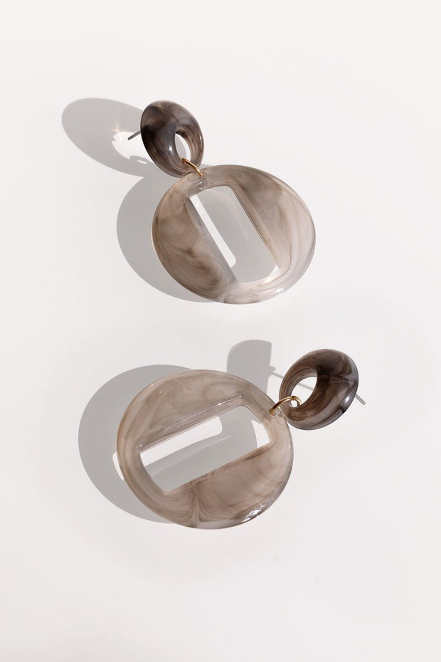 Taupe Marble Drop Hoop Earrings