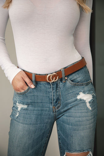 Got Class Thin Tan Gold Buckle Belt