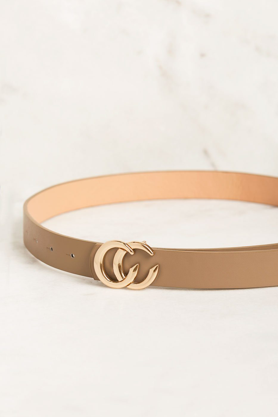 Priceless | Thin | Taupe | Gold | Buckle | Belt | Womens