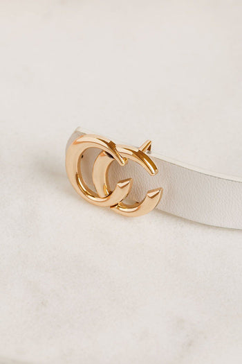 Thin White Belt with Gold Medallion Clasp