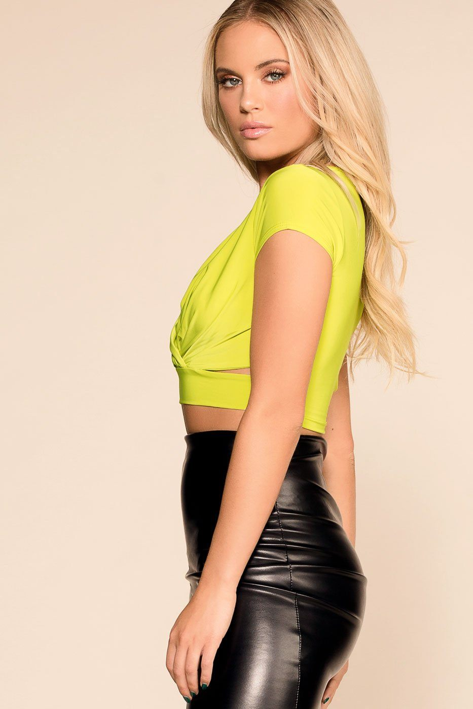 Priceless | Lime | Crop Top | V-Neck | Womens
