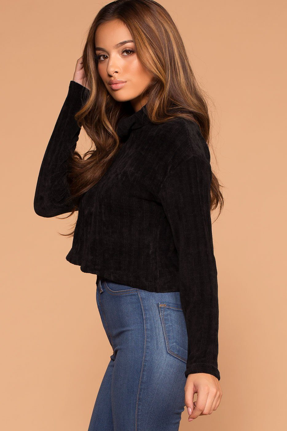 Grace Black Knit Crop Turtleneck Sweater | Shop Priceless