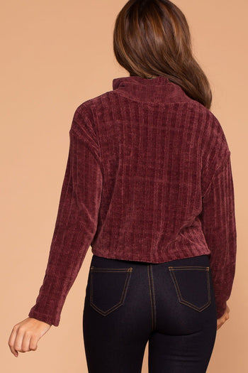 Grace Merlot Knit Crop Turtleneck Sweater Top