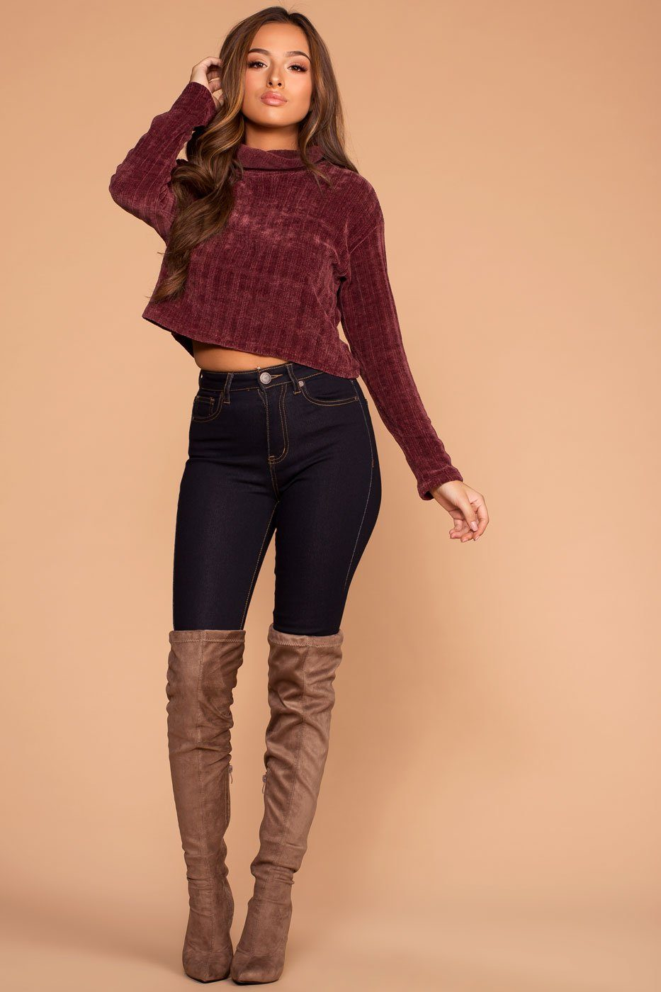 Grace Merlot Knit Crop Turtleneck Sweater Top | Shop Priceless