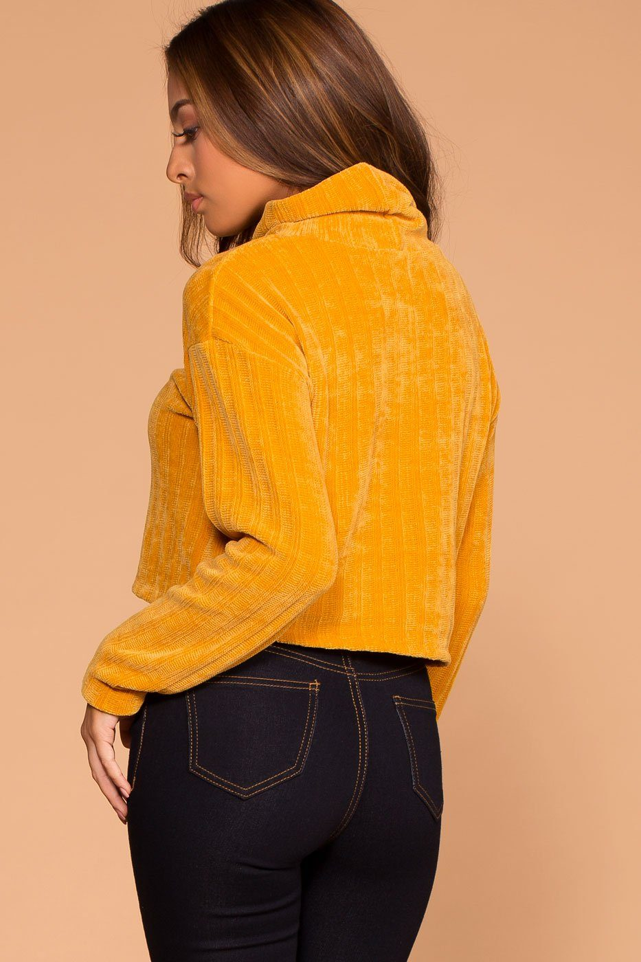 Mustard Knit Crop Turtleneck Sweater Top