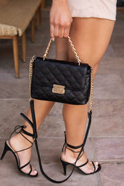 Black Quilted Gold Chain Purse